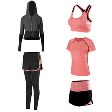 Women's 5 Piece Set, Running Suit Gym Outfit Workout Sports Wear Yoga Suit Fitness Sports Athletic Wear