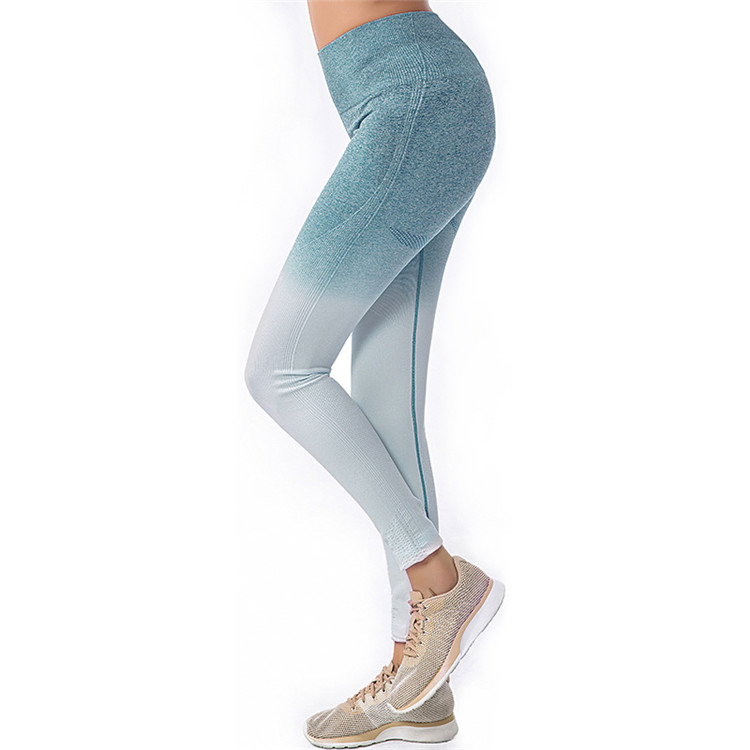 Seamless High Waisted Gym Leggings Women Stretch Yoga Pants Ombre Running Workout Leggings