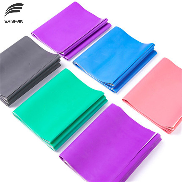 Colorful exercise long yoga stretching band natural latex elastic band