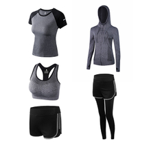 Women's 5pcs Sport workout Suits Fitness Yoga Running Athletic Yoga Tracksuit