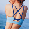 Crisscross Back Fitness Strappy Sports Padded Yoga Bra Gym Tops with Removable Cups